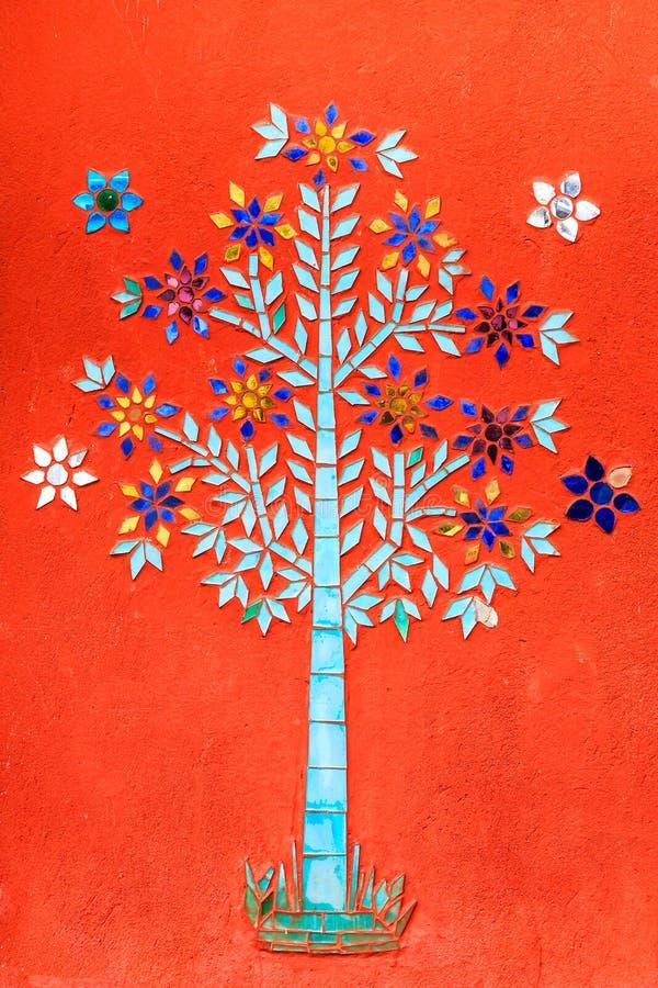 颜色玻璃马赛克树 免版税图库摄影