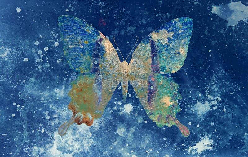 颜色蝴蝶的例证,混合画法,蓝色backgrou 皇族释放例证