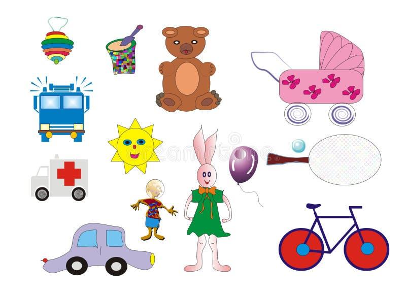 颜色ilustrations被设置的玩具 向量例证
