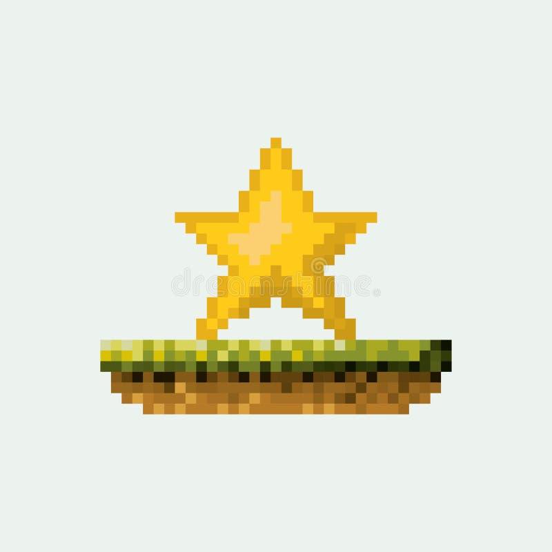 颜色pixelated黄色星在草甸 库存例证