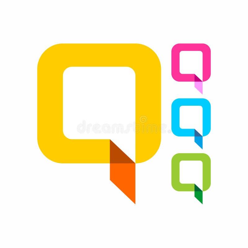 颜色Q信件商标传染媒介 免版税图库摄影