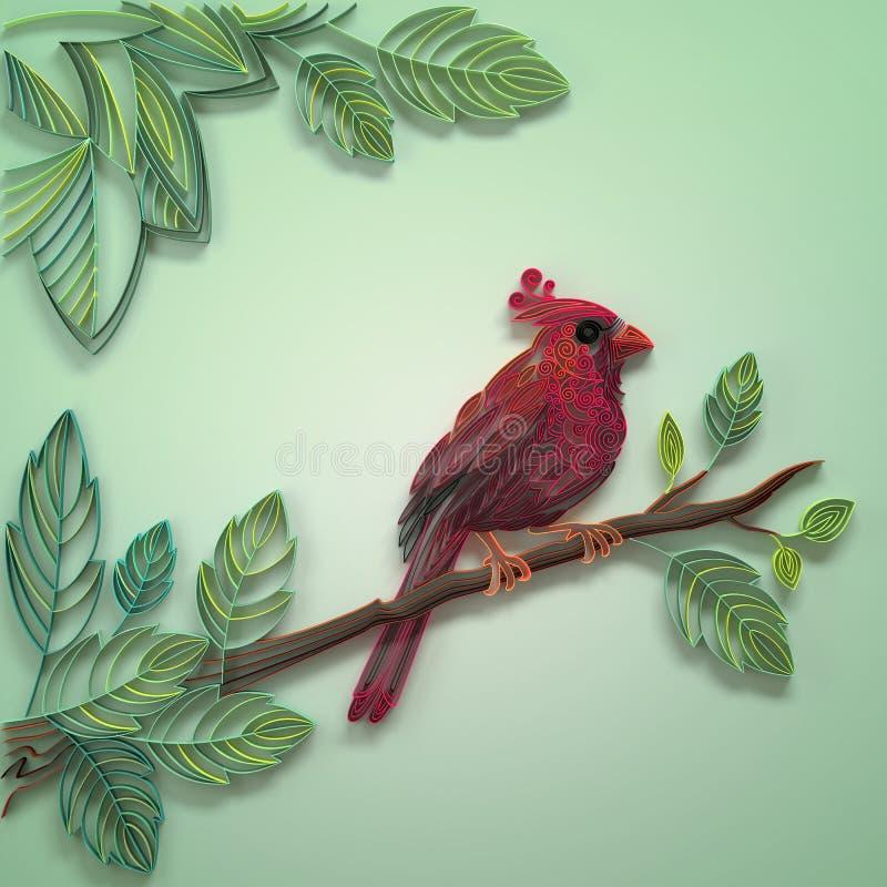 颜色quilling的纸鸟 皇族释放例证