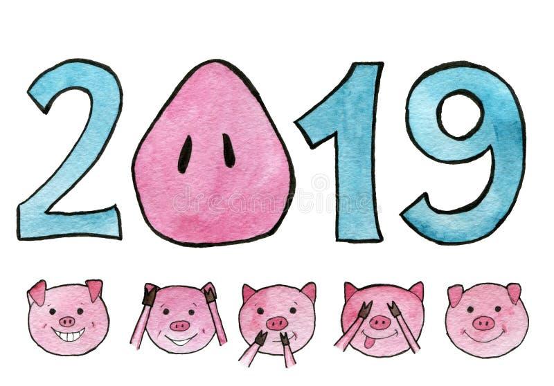 额嘴装饰飞行例证图象其纸部分燕子水彩 与pig's口鼻部的新年2019年而不是零 盖眼睛、耳朵和嘴的五头逗人喜爱的猪:唐 向量例证