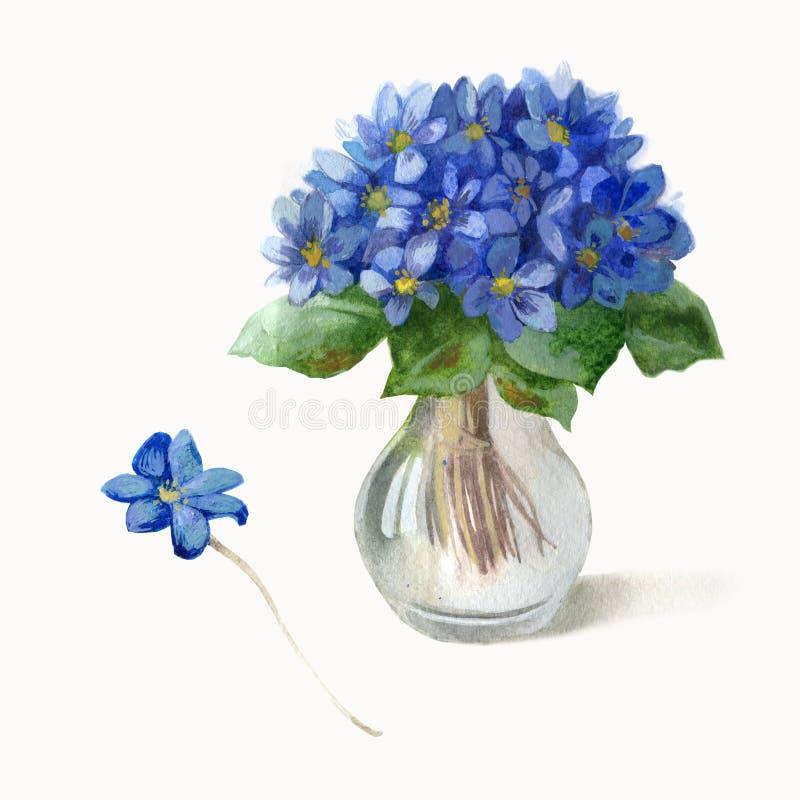 额嘴装饰飞行例证图象其纸部分燕子水彩 蓝色花花束在一个玻璃花瓶的 紫罗兰 皇族释放例证