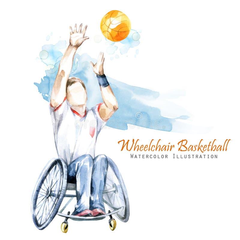 额嘴装饰飞行例证图象其纸部分燕子水彩 轮椅Backetball残奥体育 残疾运动员图轮椅的有a的 皇族释放例证