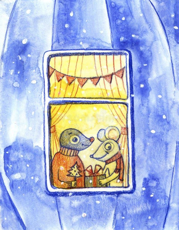 额嘴装饰飞行例证图象其纸部分燕子水彩 逗人喜爱的动物喜欢人 被赋予人性的动物 老鼠和痣互相给礼物并且看 向量例证
