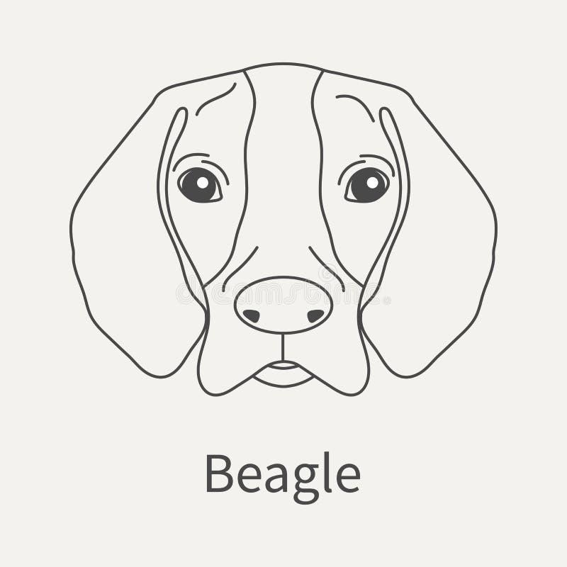 额嘴 在一个线性样式的顶头狗小猎犬 图表您的设计的概述元素 也corel凹道例证向量 库存例证