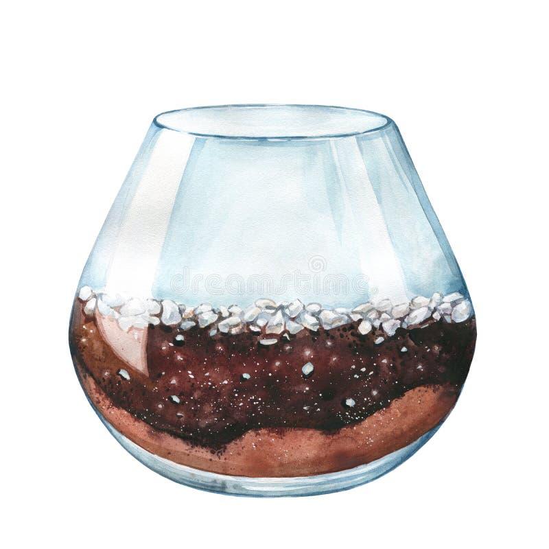额嘴装饰飞行例证图象其纸部分燕子水彩 多汁植物的一个空的玻璃容器 皇族释放例证