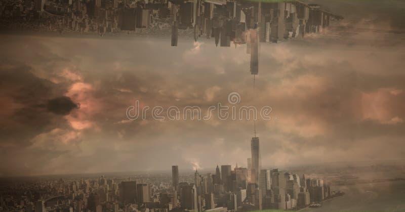 颠倒的城市的数字式综合图象反对多云天空的在日落期间 库存图片