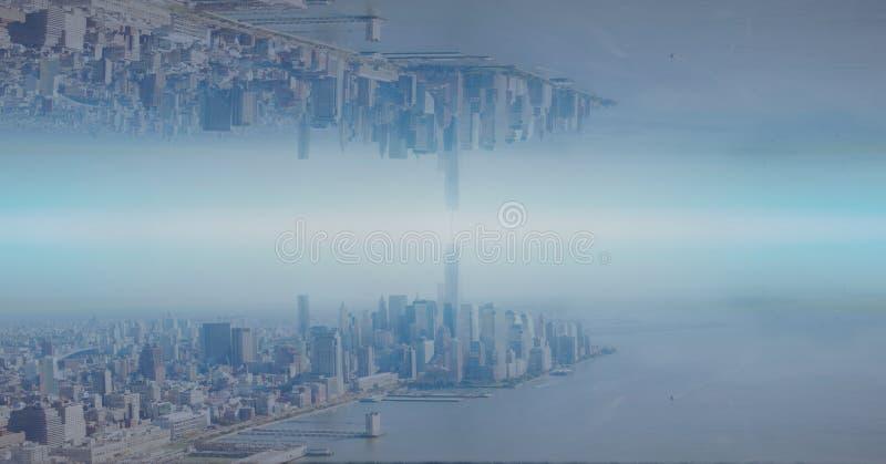 颠倒的城市的数字式综合图象 图库摄影
