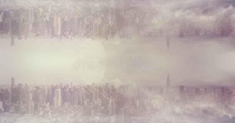 颠倒的都市风景的数字式综合图象反对多云天空的 免版税库存照片