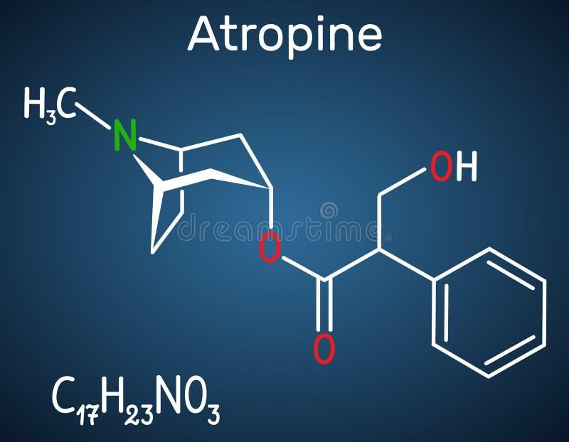 颠茄碱药物分子 这是植物生物碱 在深蓝背景的结构化学式 库存例证