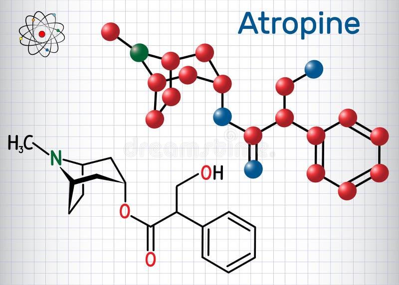 颠茄碱药物分子 这是植物生物碱 纸片在笼子的 结构化学式和分子模型 库存例证