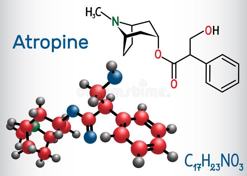 颠茄碱药物分子 这是植物生物碱 结构化学式和分子模型 皇族释放例证