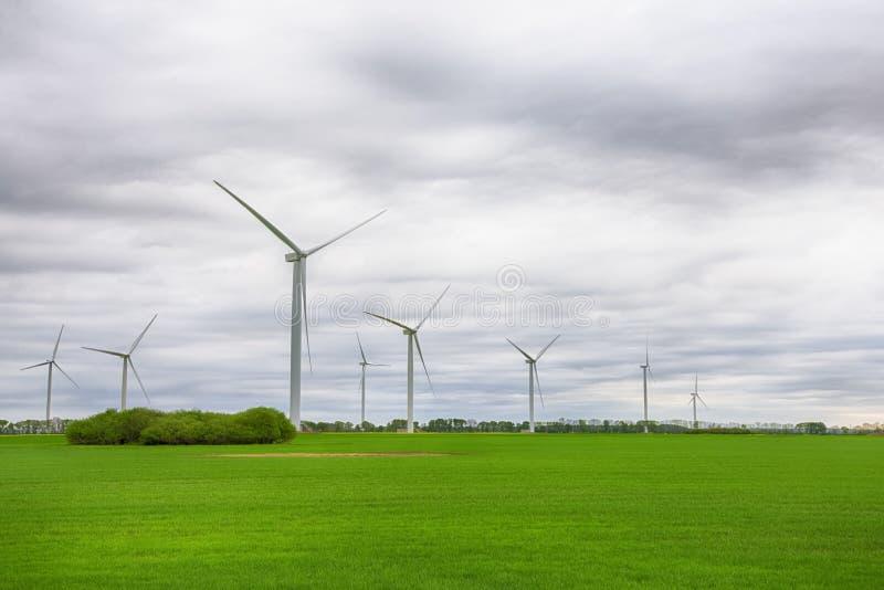 风力在一个绿色领域的植物涡轮在与云彩的天空下 绿色能量,可更新的来源,保存行星 库存照片