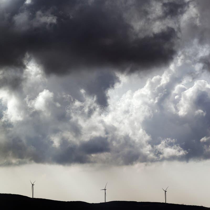 风力场和阴暗多云天空剪影在风暴前 库存照片