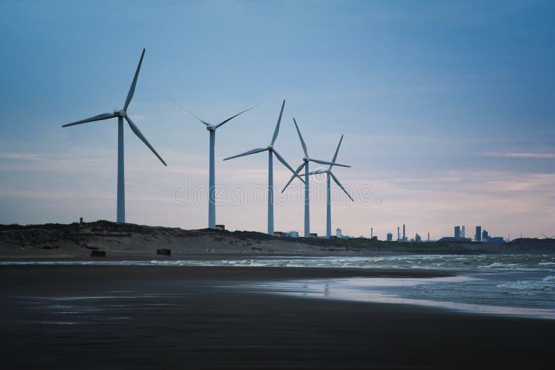 风力场沿海在大园区,桃园,台湾 库存照片