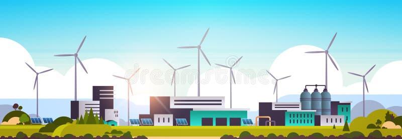 风力机太阳能电池板新能源工厂建筑工厂电站清洁自然生态 库存例证