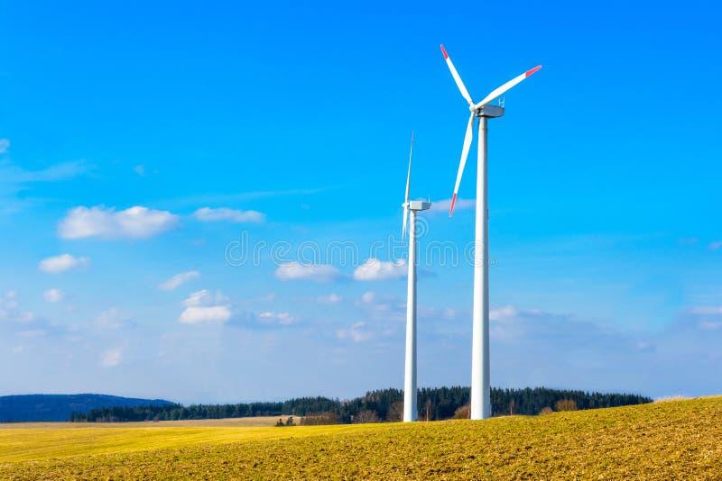 风力植物在捷克作为绿色能量的来源 库存照片