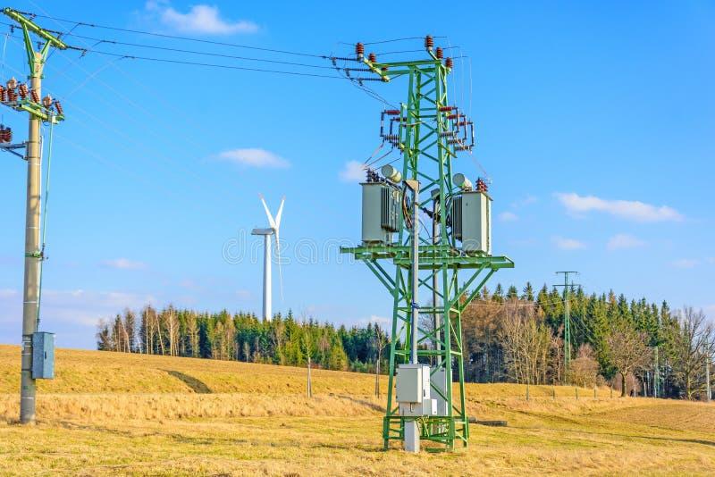 风力植物在捷克作为绿色能量的来源 图库摄影