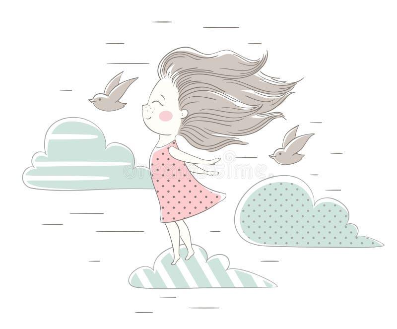 风吹逗人喜爱的女孩的头发 向量例证