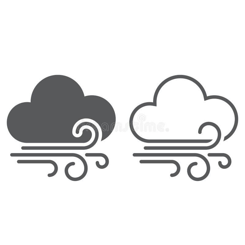 风和云彩天气象 固体和概述 库存例证