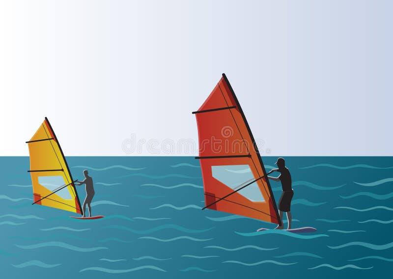 风帆冲浪在海例证 库存例证