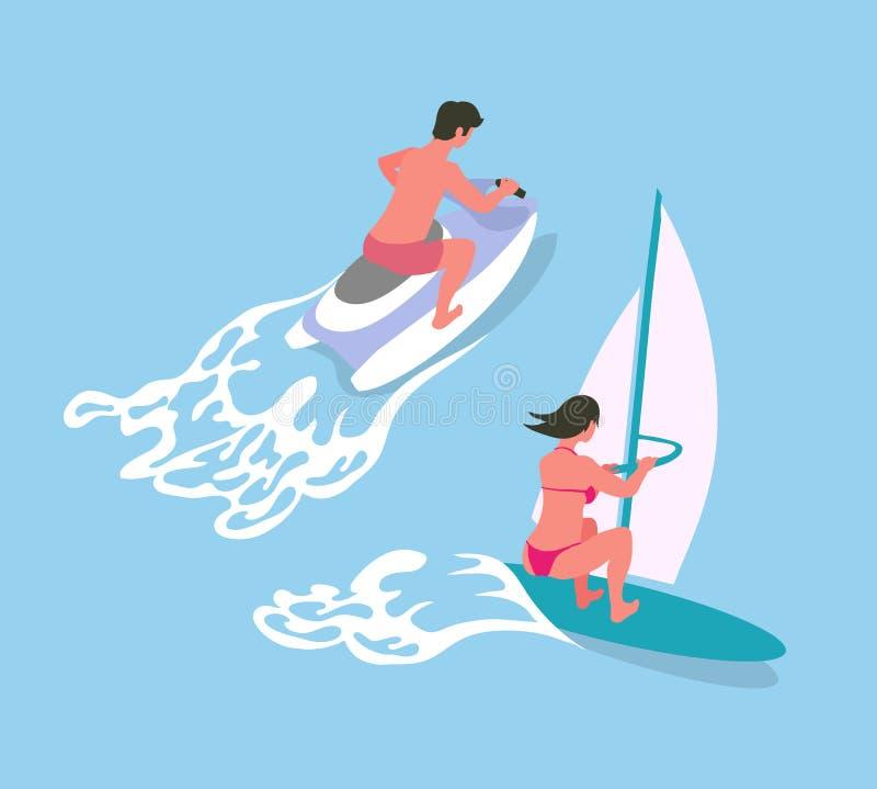 风帆冲浪并且浇灌自行车,海洋活动传染媒介 库存例证