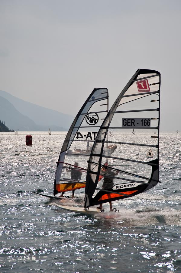 风帆冲浪的赛船会 免版税图库摄影