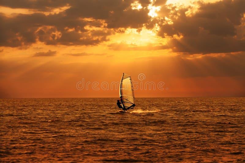 风帆冲浪者航行在海 库存图片
