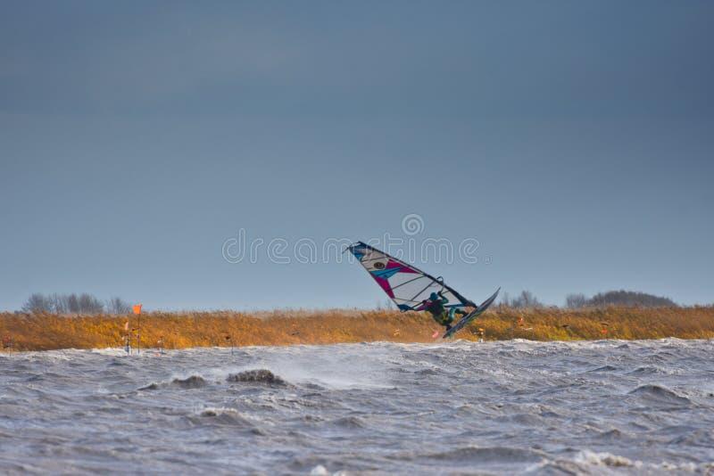 风帆冲浪跳高在湖 免版税库存照片