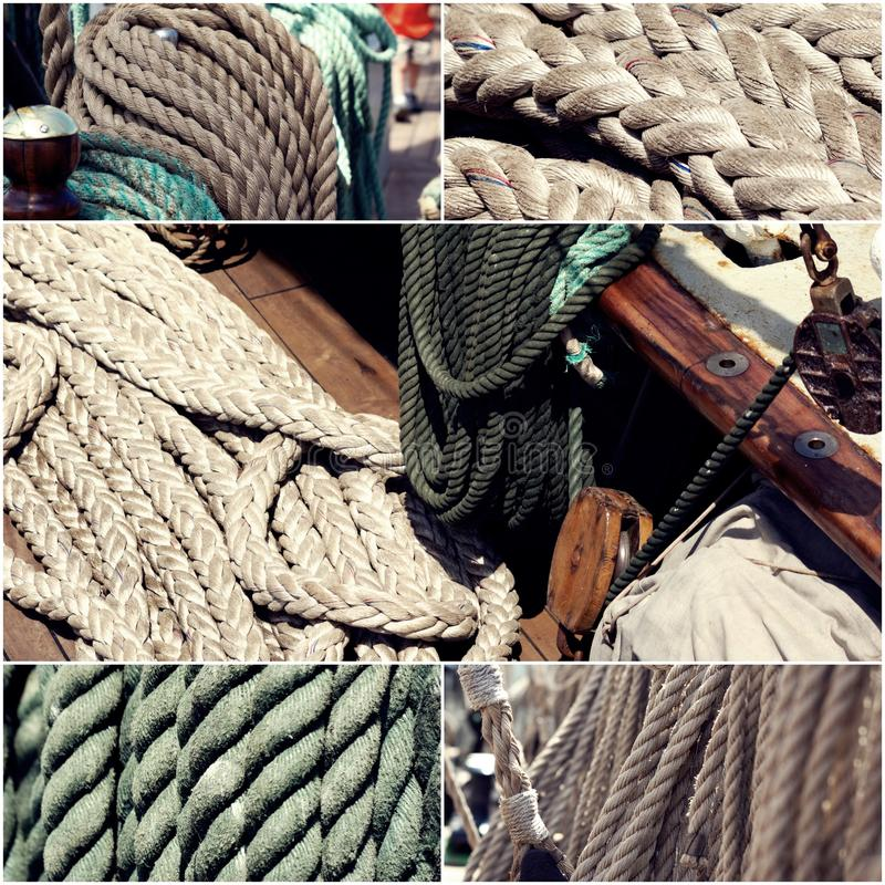 风帆划船概念 帆船绳索拼贴画套图象定了调子,葡萄酒颜色 免版税图库摄影