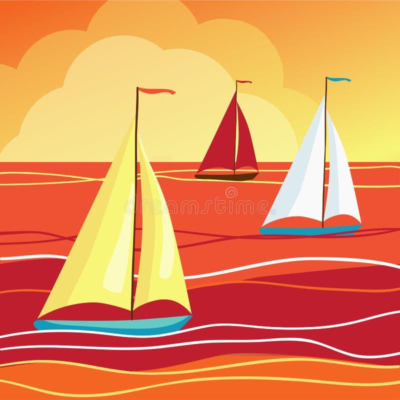 风帆在海 向量例证