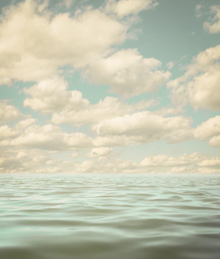 风平浪静或海洋水表面变老了照片背景 免版税图库摄影