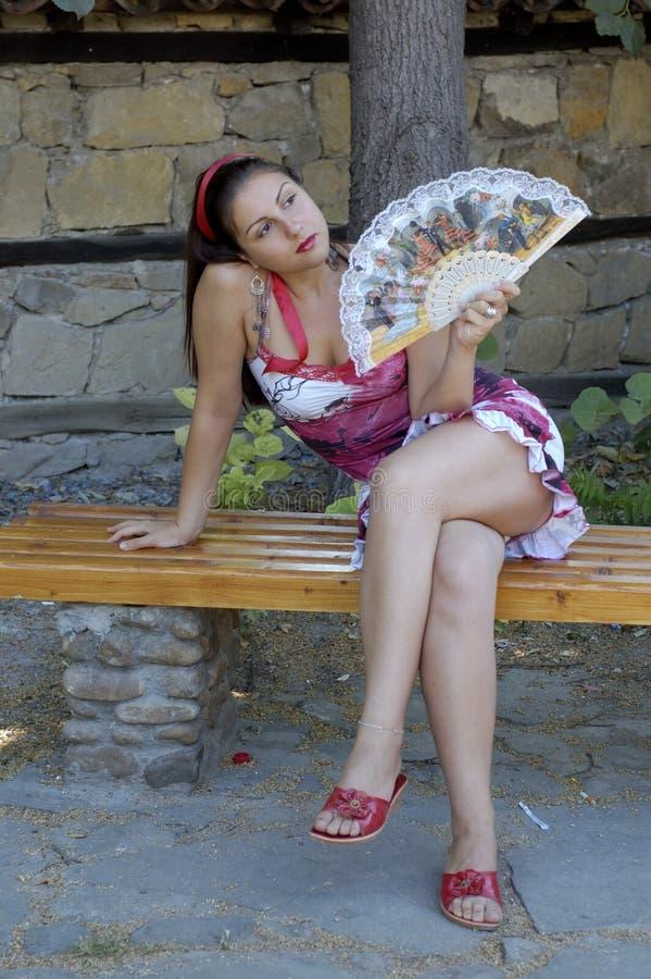 风扇妇女 免版税库存照片