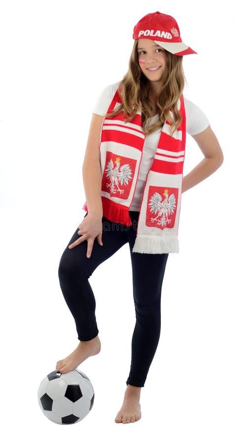 风扇橄榄球青少年女孩的波兰 免版税库存照片