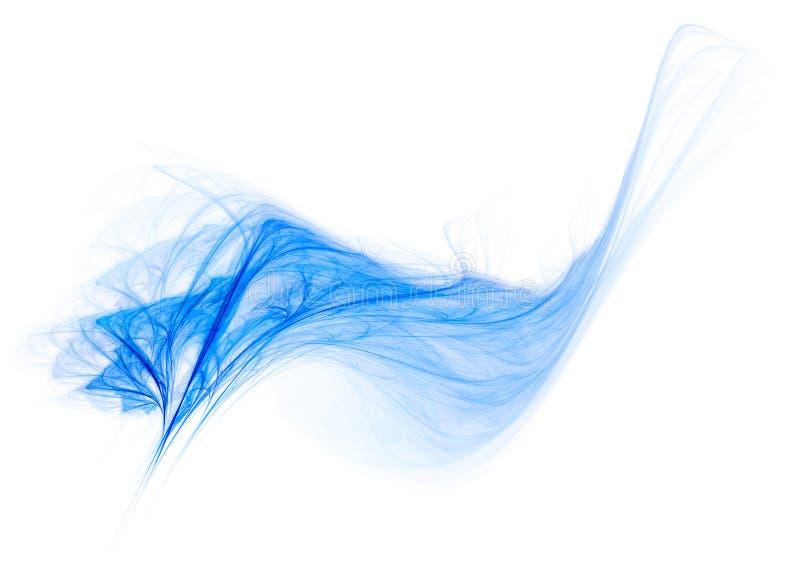 风接触 在白色的蓝色羽毛 库存例证