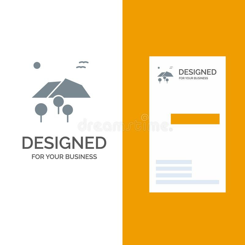 风景、山、树、鸟灰色商标设计和名片模板 向量例证