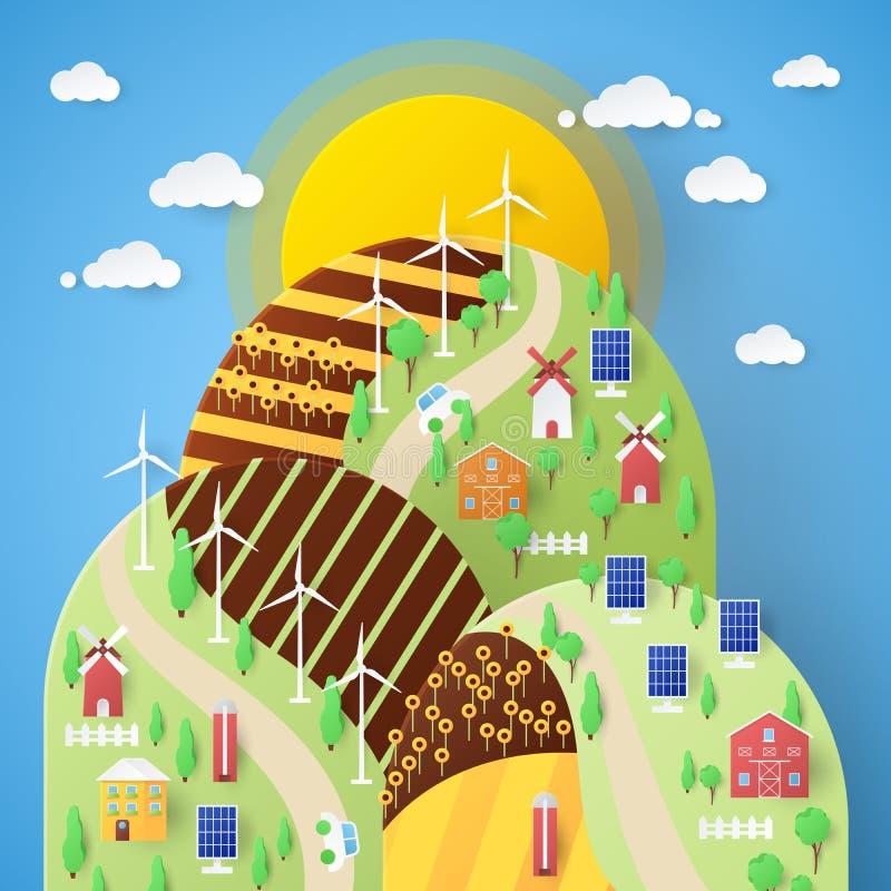 风景与风车和太阳能电池的Eco技术 皇族释放例证