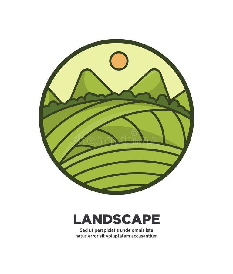 风景与绿色领域和小山网的风景设计按 库存例证