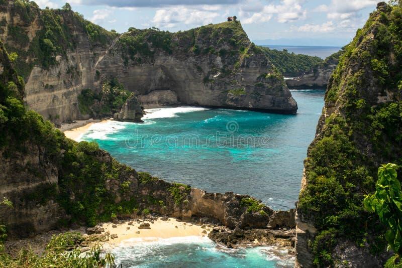风景从一千个海岛观点在珀尼达岛,印度尼西亚 免版税库存图片