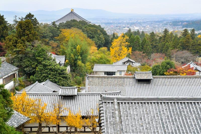 风景从Nigatsu寺庙,奈良,日本 免版税库存图片