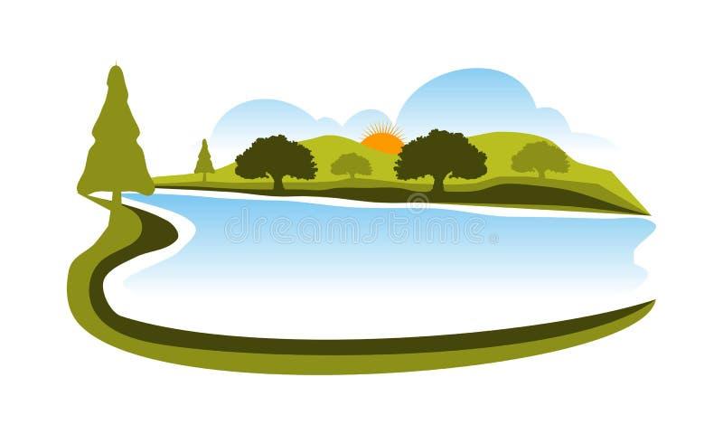 风景传染媒介商标设计模板 向量例证