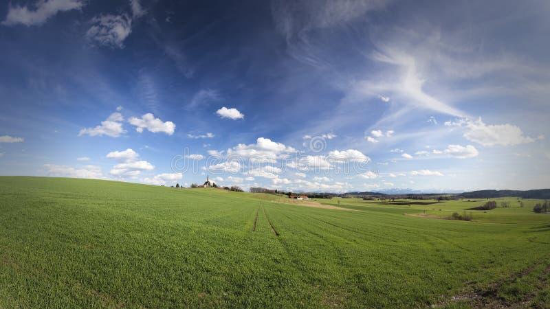 风景全景(16 :9)在巴伐利亚,德国 图库摄影