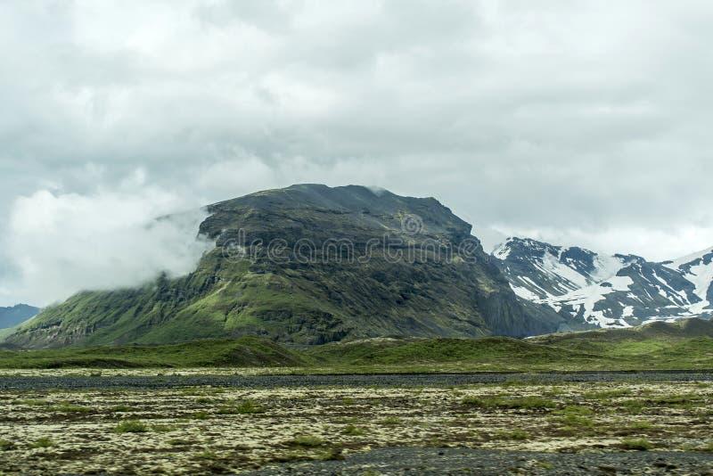 风景冰岛绿草雪冰川6 库存图片