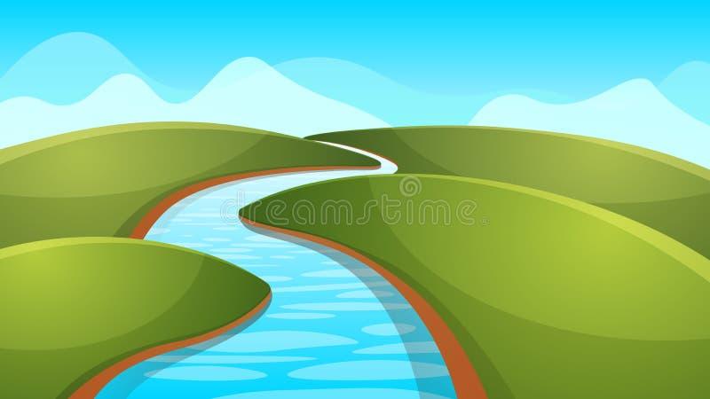 风景动画片,例证 河,太阳,小山 向量例证