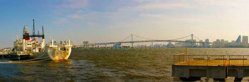 风景可看见从Harumi码头公园 免版税库存图片