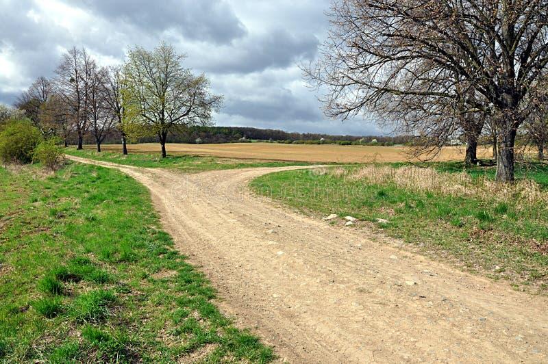 风景和土路 免版税图库摄影