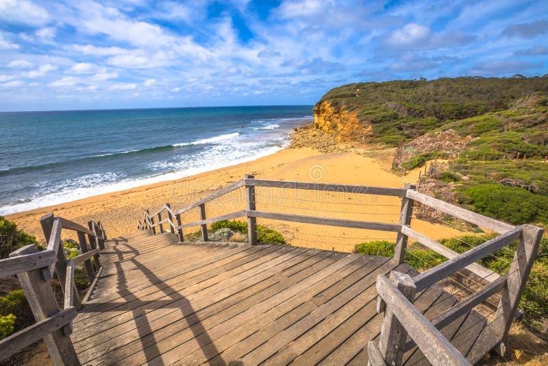 风景响铃海滩在维多利亚澳大利亚 库存图片