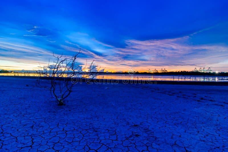 风景在海Laemchabang口岸的日落视图 免版税图库摄影